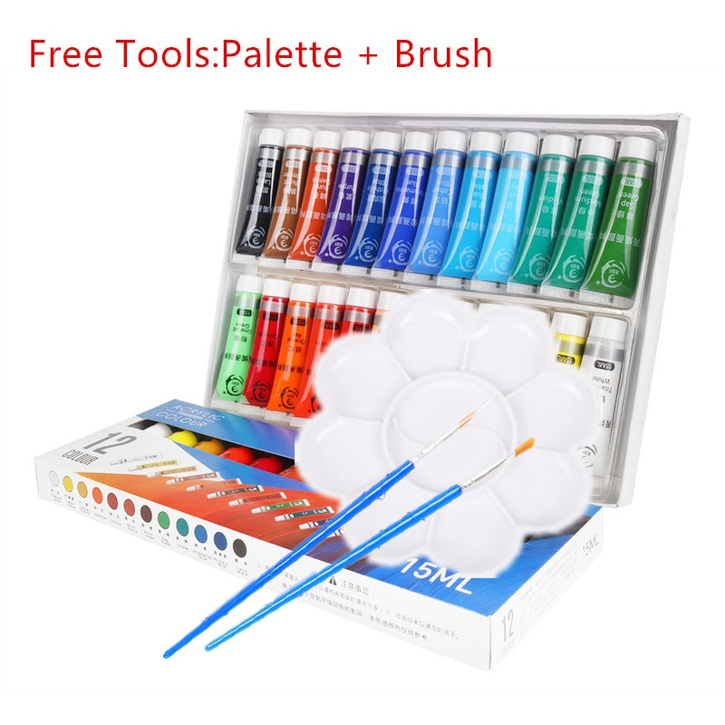 12/24 Colors 15ml Acrylic Paint SetFree Brushes And Palettes For Wall Glass Fabric Ceram Paper DIY Graffiti Painting Artist Tool