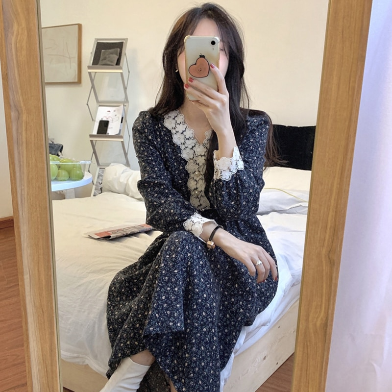 Printed Dress for Woman V-neck Lace Slim Waist Chic Clothing Female Dresses Summer Long-sleeve Dark Blue Korean Vestidos Spring