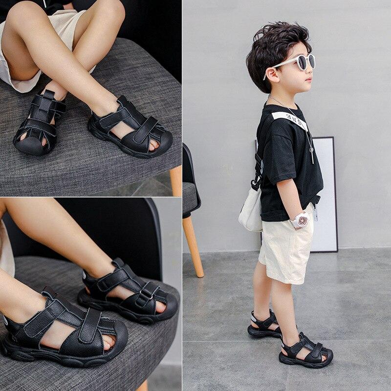 موضة صندل جلد طبيعي للبنين عدم الانزلاق مكافحة bump تو بنين أحذية الصيف الأطفال جلد البقر الصنادل المراهقين صنادل شاطئ