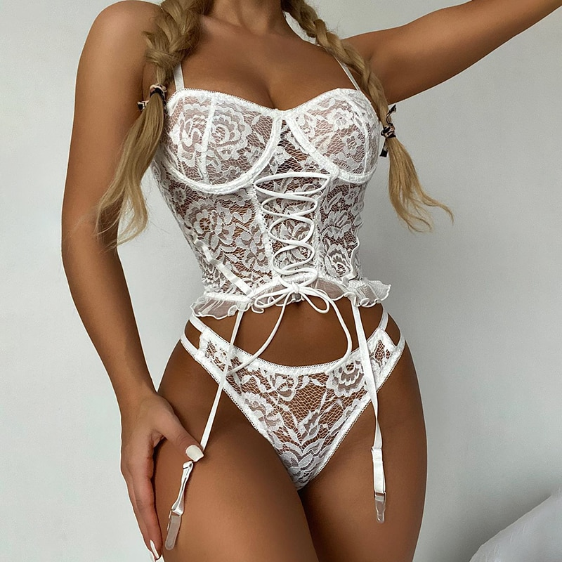 Women Sexy Lingerie Corset Set Lace Embroidery Defined Waist Temptation wedding Underwear Adjustabl