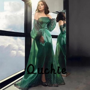 Emerald Green Organza Evening Dresses Off the Shoulder Gold Lace robe soiree Islamic Dubai Kaftan Saudi Arabic Prom Gown