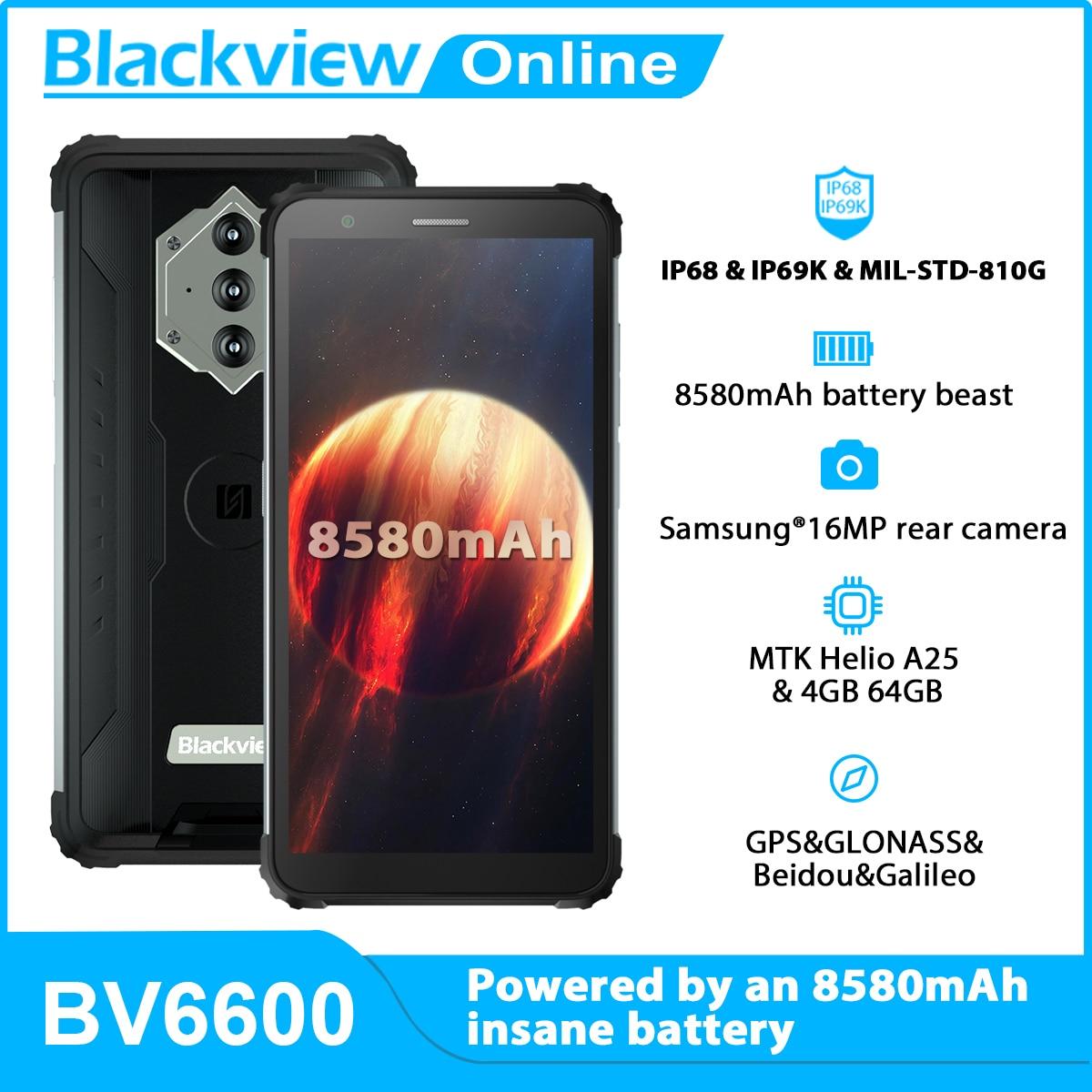 Перейти на Алиэкспресс и купить Blackview Новый BV6600 Octa Core 4 Гб + 64 Гб IP68 Водонепроницаемый 8580 мА/ч, прочный смартфон 5,7 дюйм16MP Камера NFC Android 10 мобильный телефон