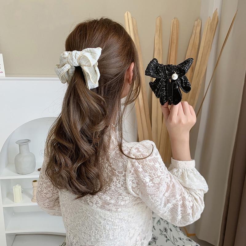 H:HYDE Korean Sweet Japanese Lattice Bow Banana Hair Claw Vertical Clip Ponytail Holder Hairpin Hair Accessories Headdress Women