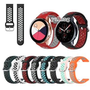 20mm 22mm Sport Silicone Breathable Strap For Samsung Galaxy Watch Active 2 For Samsung Gear Sport Smart Watch Wristband