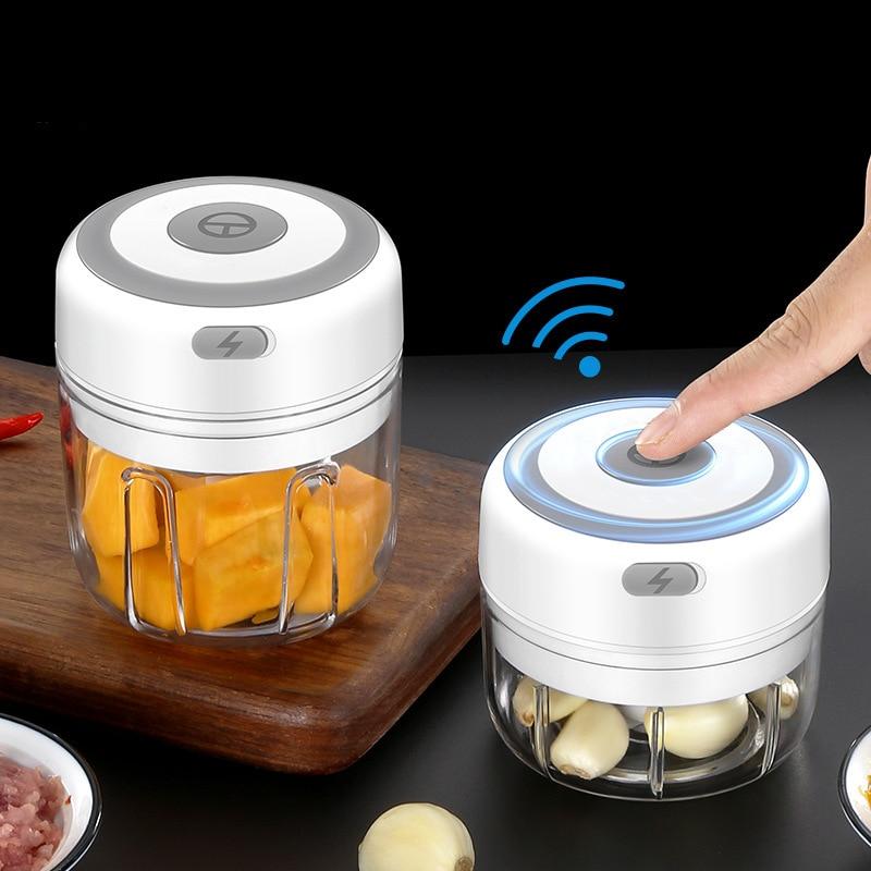 Mini Kitchen Home Appliances Machine Wireless Electric Crusher Garlic Squeezer Masher Baby Food Breaker Supplement Mixer