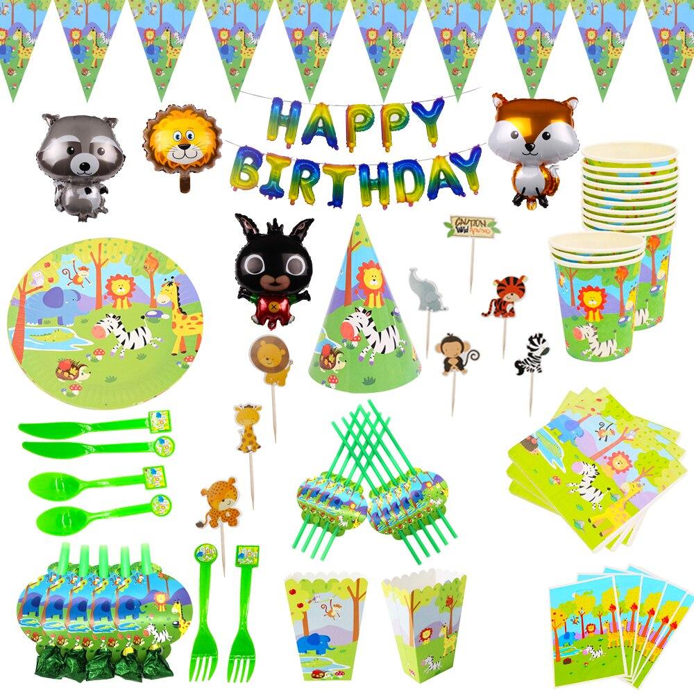 Animales de la selva tema vajilla desechable placa pancarta taza paja Cupcake decoraciones para niños cumpleaños fiesta suministros BabyShower