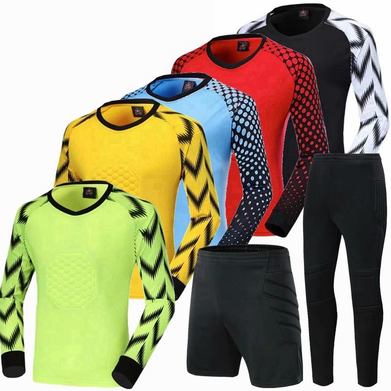 Conjunto de camisetas de fútbol para portero juvenil, uniforme de fútbol para portero, camisas de portero acolchadas con protección de esponja, pantalones y pantalones cortos