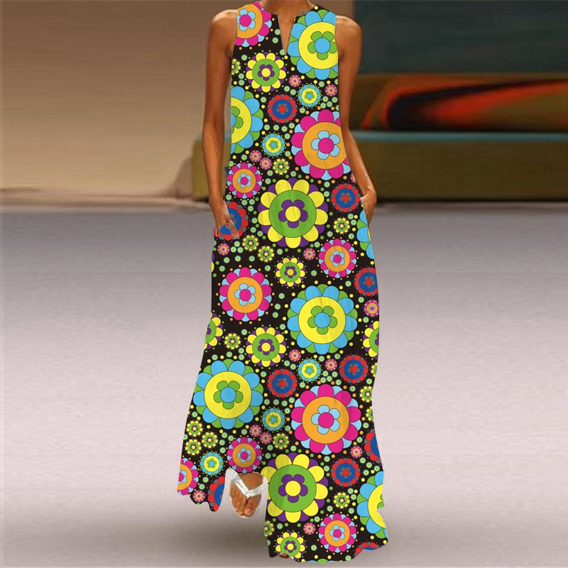 MOVOKAKA Fashion Print Maxi Dress 2021 Robe Casual Plus Size Elegant Long Dresses Summer Woman Sleev