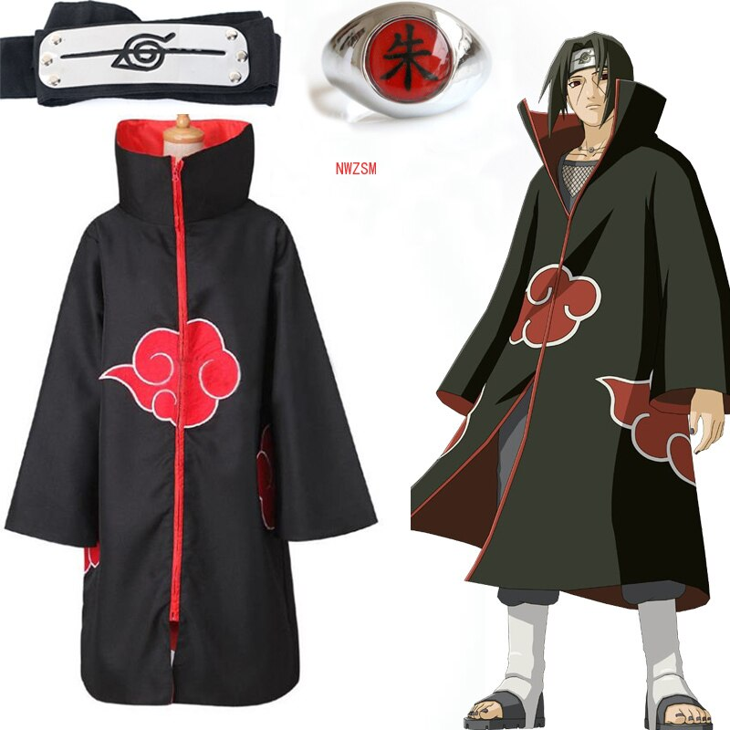 Anime Akatsuki Akatsuki Cloak Cosplay Costume Uchiha Itachi Ring Headband  Men Gifts  Sasuke Cloak Robe Cape Halloween Carnival