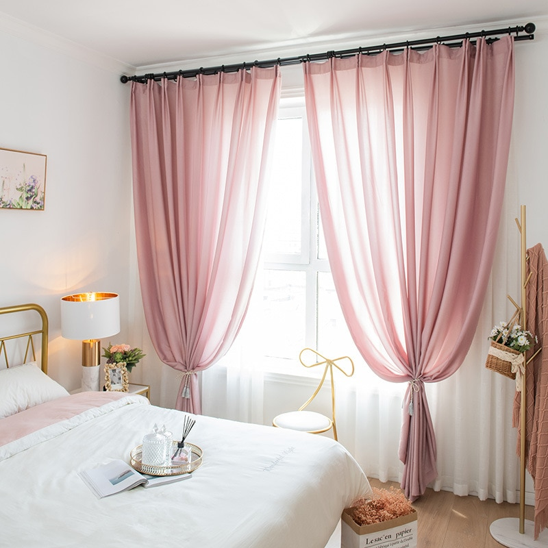 Solid Color Sheer Pink Tulle Curtains for Living Room Bedroom Window Treament Blue White Voile Curtains Drapes