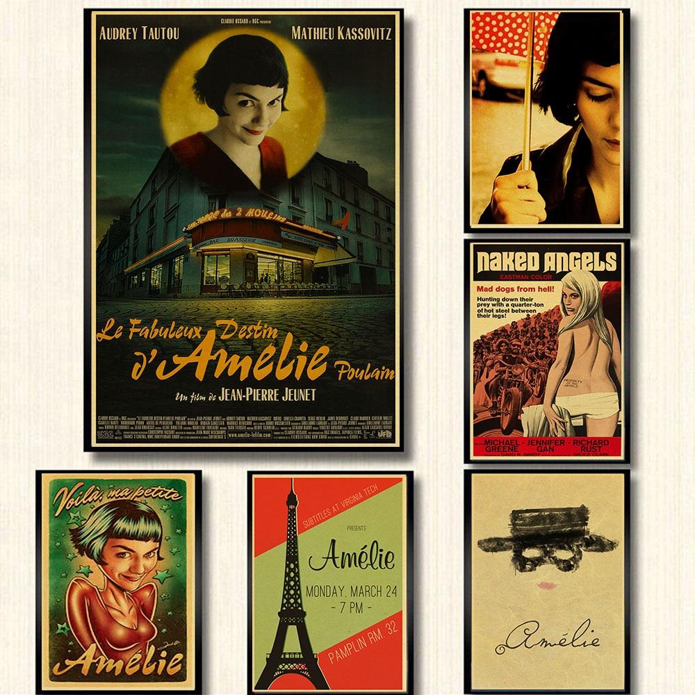 Clásico película póster de Amelie retro Kraft papel tapiz para Bar Café Pared de salón Cuadros decorativos vintage cartel