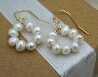 favorite woman pearl earring white freshwater pearl silvers dangle earring handmade fine jewelry bridal birthday graduation gift
