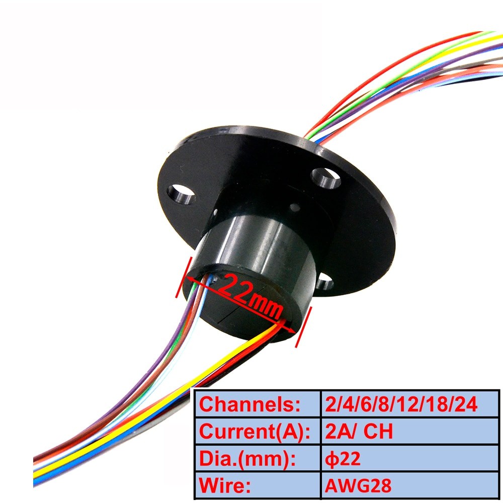 hollow shaft brushed slip ring through hole 12 7mm rotary joint conductive slipring out 54mm 6 12 18 24 circuits 5a collect ring Electric Slip Ring 22mm 2/4/6/8/12/18/24 Channel 2A Slip Ring Rotary Joint