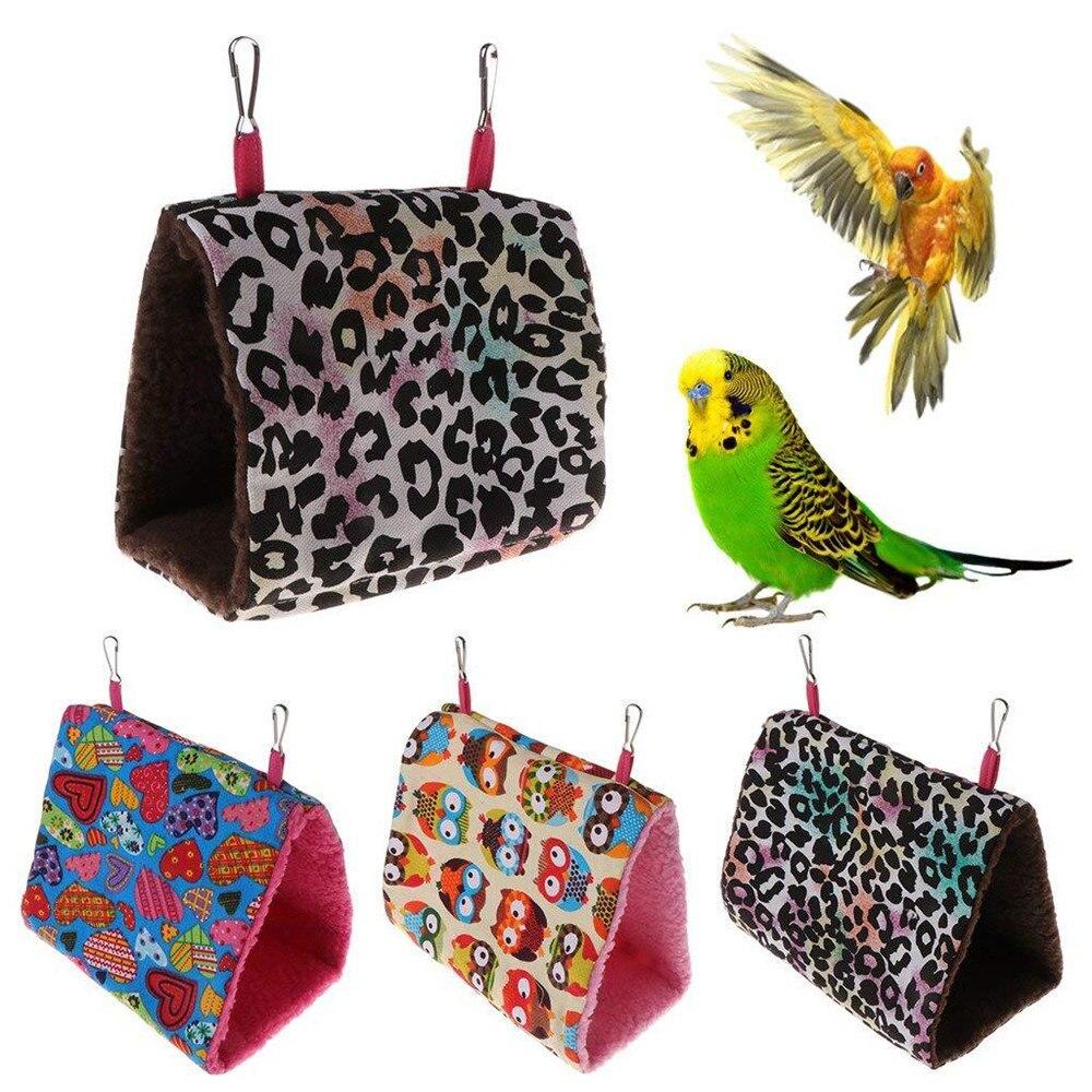 Nido de Pájaro triangular, jaula colgante de cueva colgante, jaula gruesa de loro de peluche, hamaca de pájaro de juguete, nido de loros, casa de pájaros