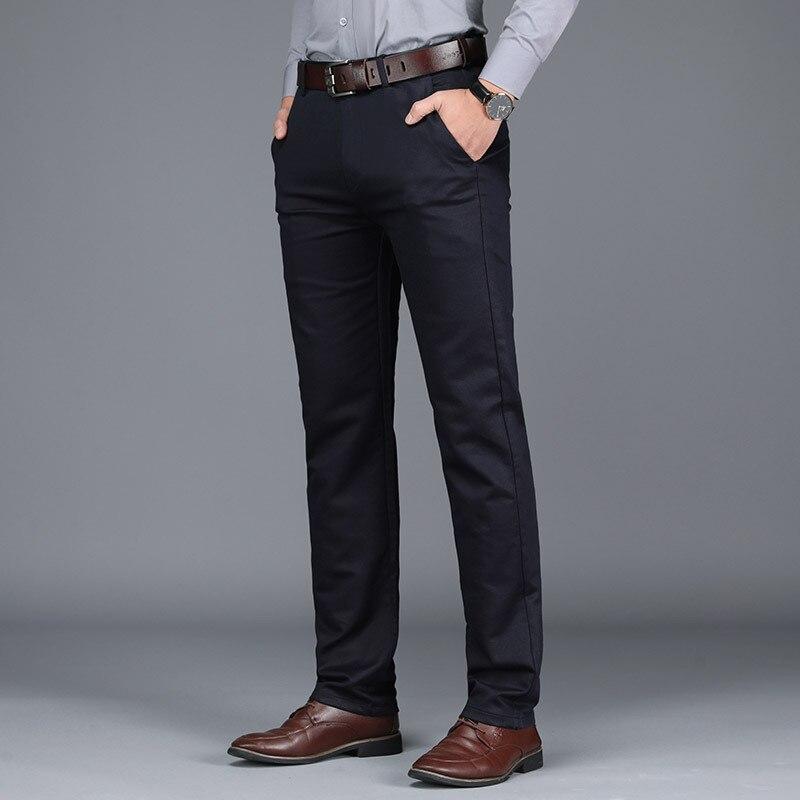 Осенние и зимние повседневные брюки, деловые повседневные брюки, мужские брюки, прямые свободные эластичные утолщенные мужские брюки средн...