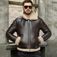 mens shearling sheepskin genuine leather coat b3 bomber jacket retro aviator outerwear trench flight fur thick winter jacket
