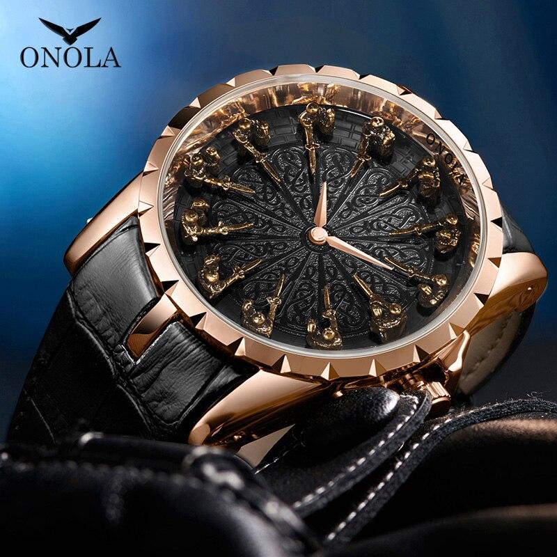 ONOLA brand style watch man 2019 chinese watch factory leather waterproof wristwatch fashion cusual unusual Relogio Masculino