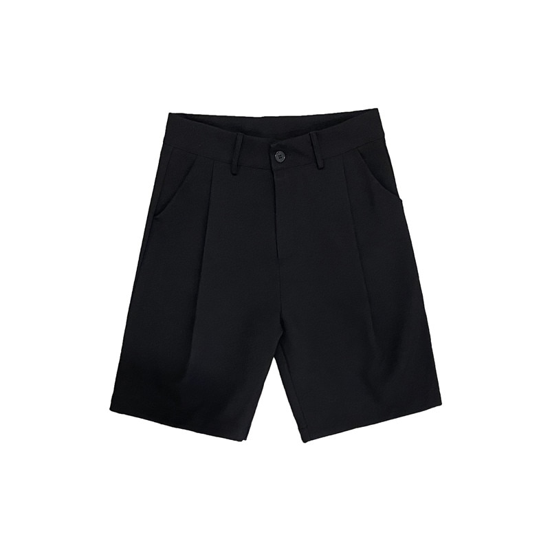New Men's Straight Cut Shorts, Knee Length Suit, Solid, Beige, Black, Summer Clothing, Student Casual Shorts