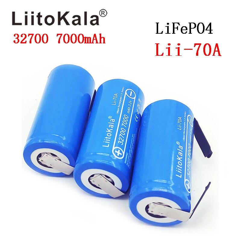 3PCS LiitoKala 3.2V 32700 7000mAh Bateria de 6500mAh LiFePO4 35A 55A bateria de Alta potência Máxima de Descarga Contínua + folhas de níquel