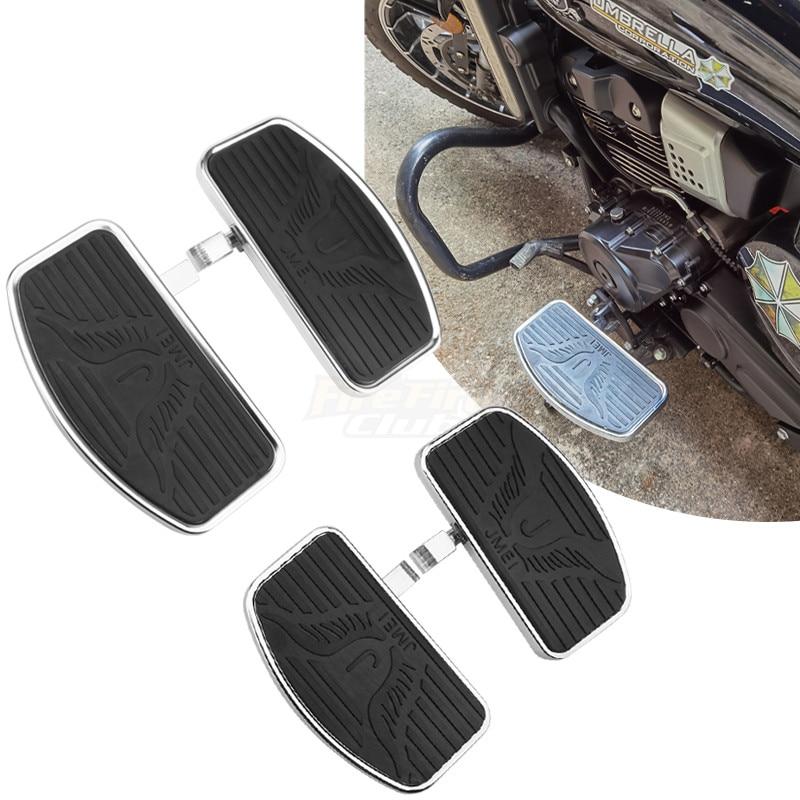 Black Motorcycle Adjustable Rear Passenger Front Footrest Rider Driver Foot Rest Pegs Floorboards Universal
