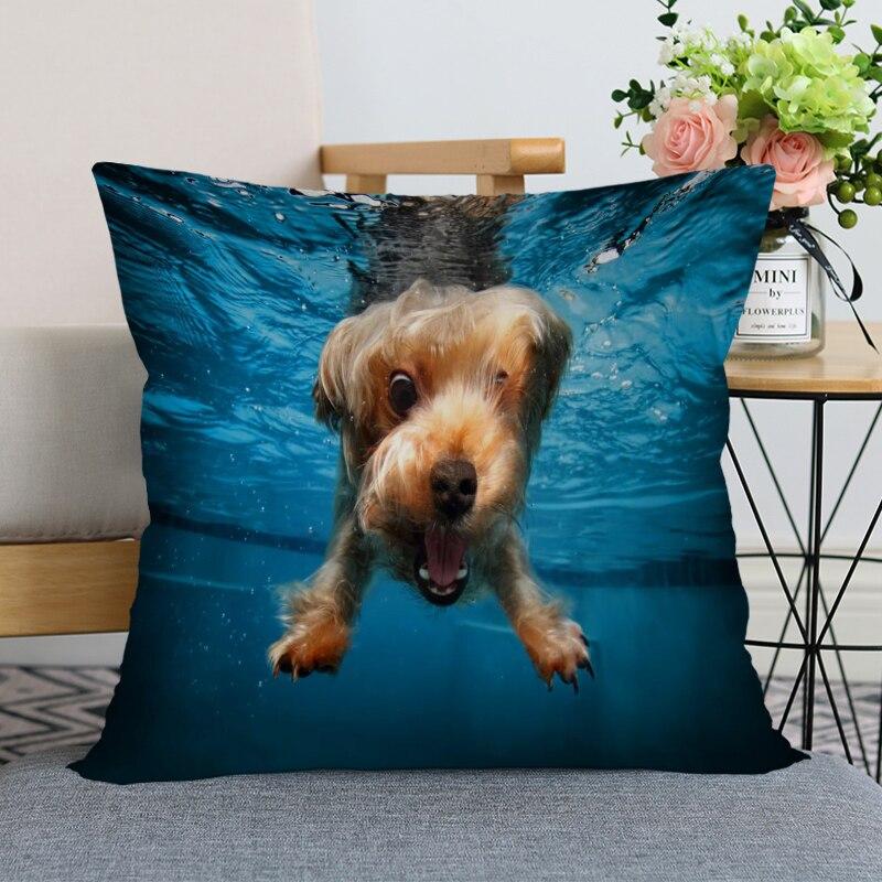 Хорошая подушка чехол современный домашний декоративный йоркширский терьер собака подушка чехол 35x35 см, 40х40см (с одной стороны) для гостино...