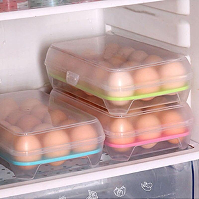 15 Grid Küche Kühlschrank Einzelne Schicht Ei Box Storage Box Praktische Kreative Hause Tragbare Kunststoff Picknick Lebensmittel Lagerung Box
