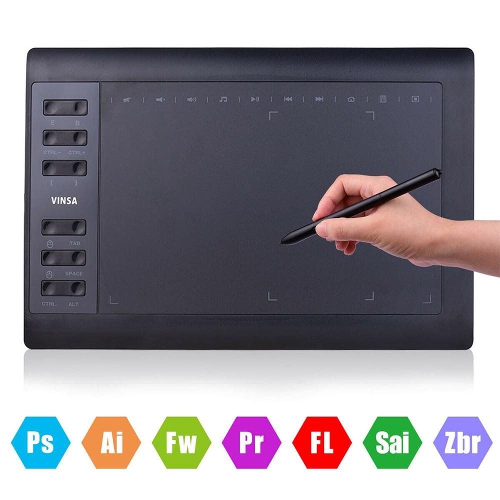 لوح رسم الرسومات VIN1060PLUS 10x6 بوصة 12 مفاتيح اكسبرس 8192 مستويات بطارية-مجانية لوح للرسم الرقمي للكمبيوتر