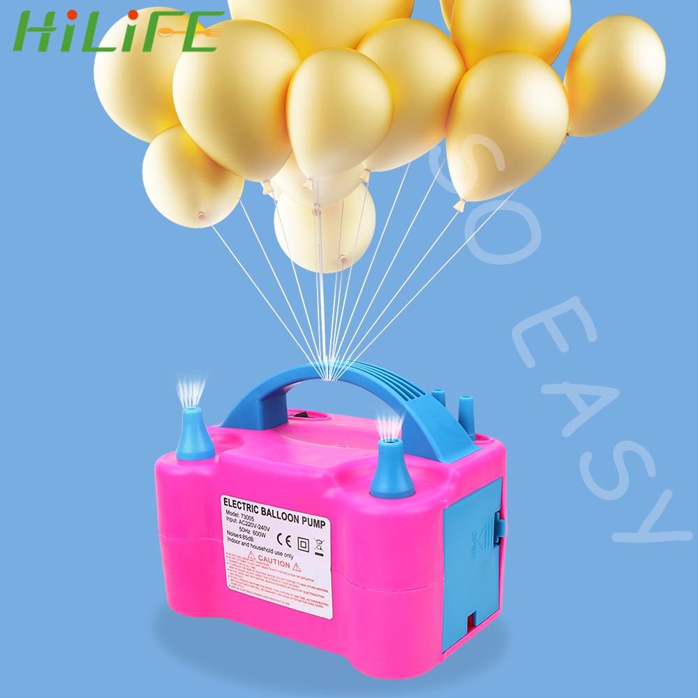 HILIFE بالون مضخة نفخ الاتحاد الأوروبي التوصيل الكهربائية منفاخ الهواء ضاغط عالية الطاقة اثنين فوهة بالون مضخات