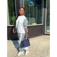 white gray color matching sweatsuit two piece women set round neck long sleeve loose sporty toplong jogger trousers sweatpants