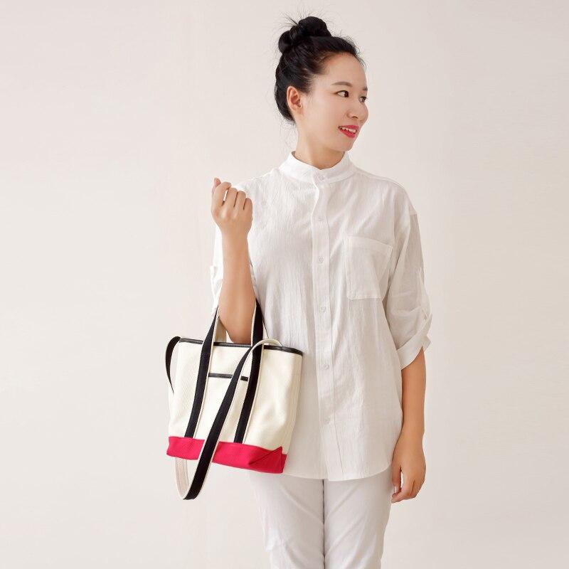 New style contrast Japanese style canvas handbag women Gloves One Shoulder slant straddle bag original small square Tote