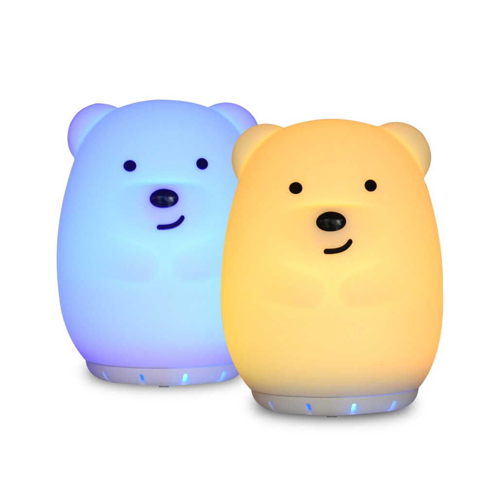 Silicone Bear Music Lamp Wireless Bluetooth Speaker Player USB Rechargeable RGB LED Night Light Children Bedroom Bedside Lamp