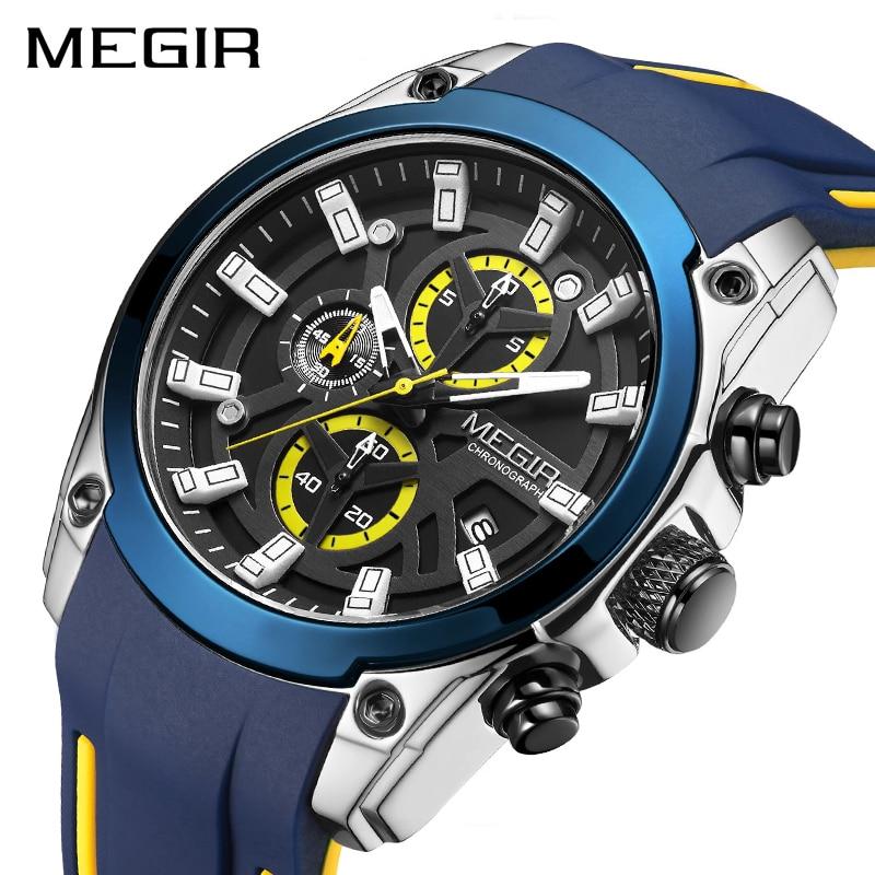 MEGIR 2020 Blue Sport Watches for Men Top Brand Luxury Chronograph Man Watch Military Quartz Clocks