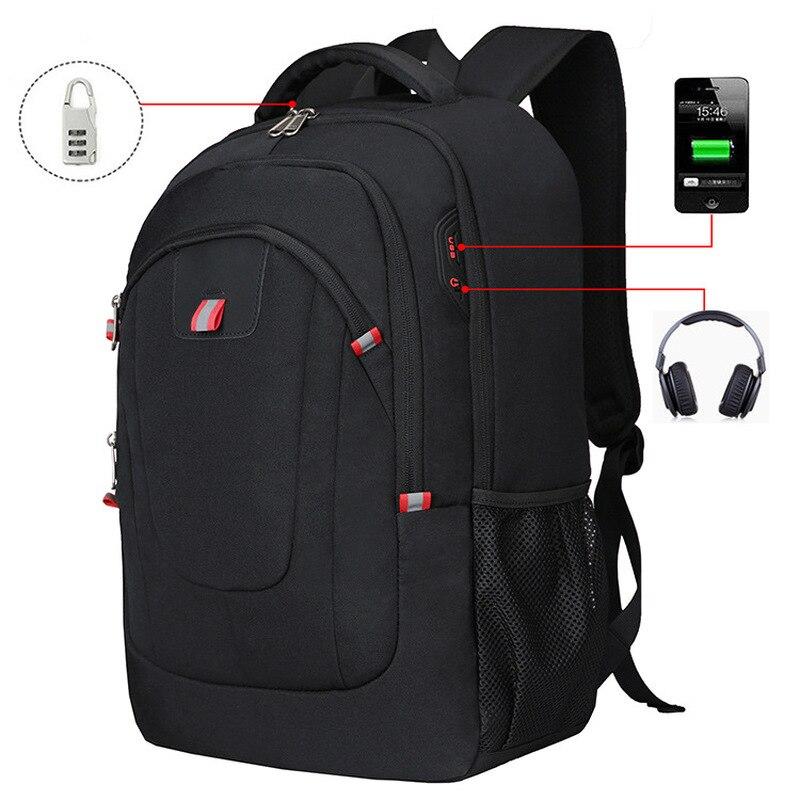 17 дюймов Анти вор компьютер мужской рюкзак черный нейлон водонепроницаемый USB Бизнес Путешествия Mochila мужской Открытый Повседневный большо...