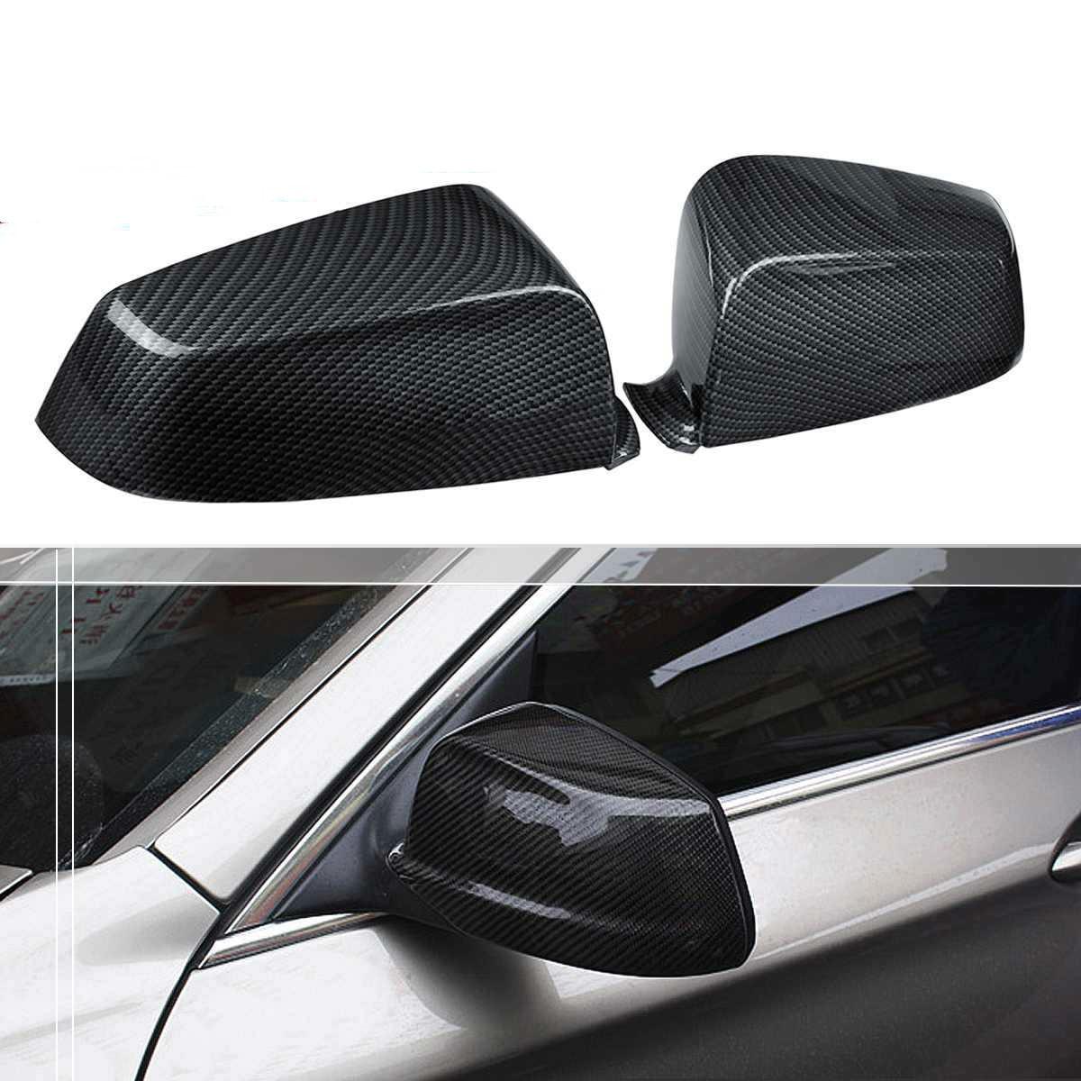Tapas de espejo lateral de fibra de carbono para coche, 2 uds., tapas de espejo retrovisor lateral, juego compatible con BMW E60 F10 5 Series 2008-2013