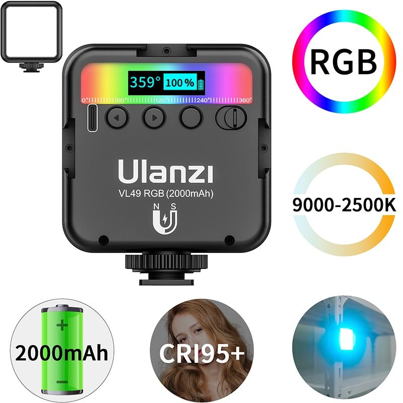 AliExpress - Ulanzi VL49 RGB Full Color LED Video Light 2500K-9000K 800LUX Magnetic Mini Fill Light Extend 3 Cold Shoe 2000mAh Type-c Port