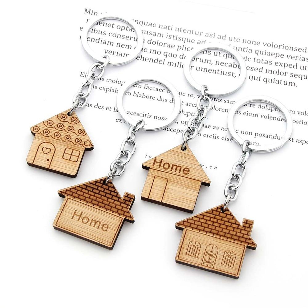 Fashion Wood House Key Chain Housewarming Gift Home Key Ring For Men Women Car Bag Jewelry Making De