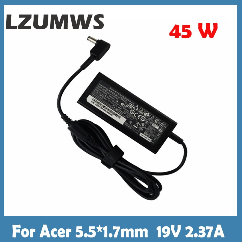 Para acer 45w 19v 2.37a ac portátil adaptador carregador A515-51-3509 E5-573-516D aspire 3 A314-31 série notebook 5.5*1.7mm