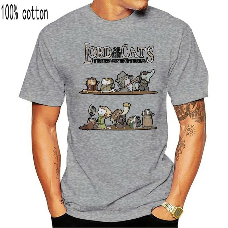 homens camisa engracada de t tshirt da moda senhor dos gatos do furrlowship do anel