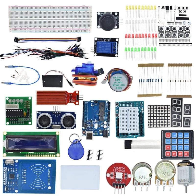 Starter Kit for Arduino Uno R3 - MEGA328P Breadboard and holder Step Motor / SG90 Servo /1602 LCD/jumper Wire/RFID Module/Relay