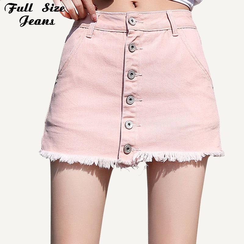Femmes grande taille bouton Up Micro Mini jupe courte 6Xl 7Xl été Streetwear rose Denim jupes mode Jean Skorts Jean jupe-pantalon