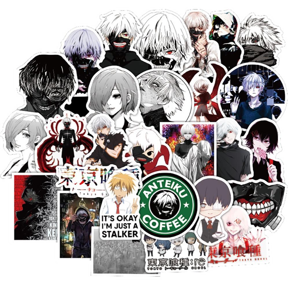 10/30/50 Uds. Pegatinas de grafiti Anime Tokyo Ghoul DIY para coche, motocicleta, equipaje de viaje, guitarra, portátil, pegatina de juguete impermeable para niños