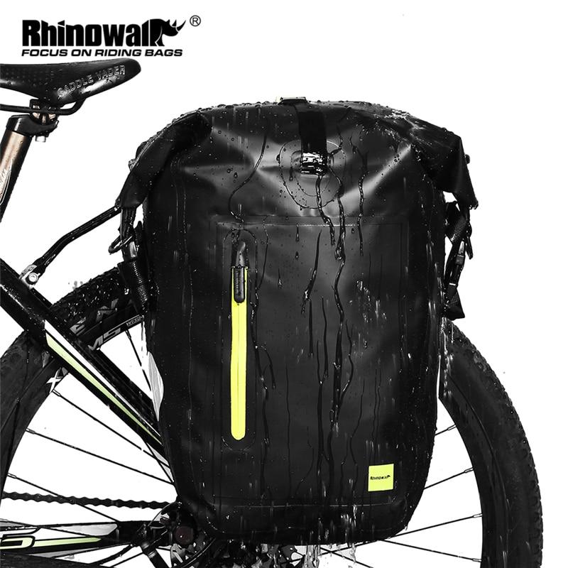 Rhinowalk 25L Waterproof Bike Bag MTB Road Bike Bicycle Rear Rack Pannier Bag Cycling Rear Seat Bag Shoulder Bag Bike Accessorie