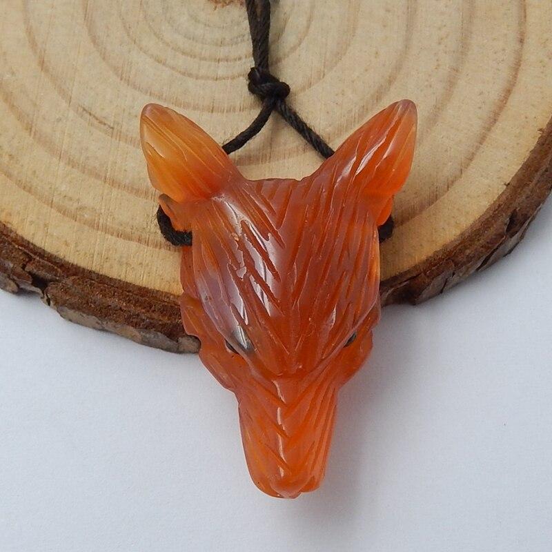 Модное крутое ожерелье, драгоценный камень, натуральный камень, красный агат на Рождество, мини животное, резная подвеска в виде волчьей головы, 31x22x10 мм, 6,1 г