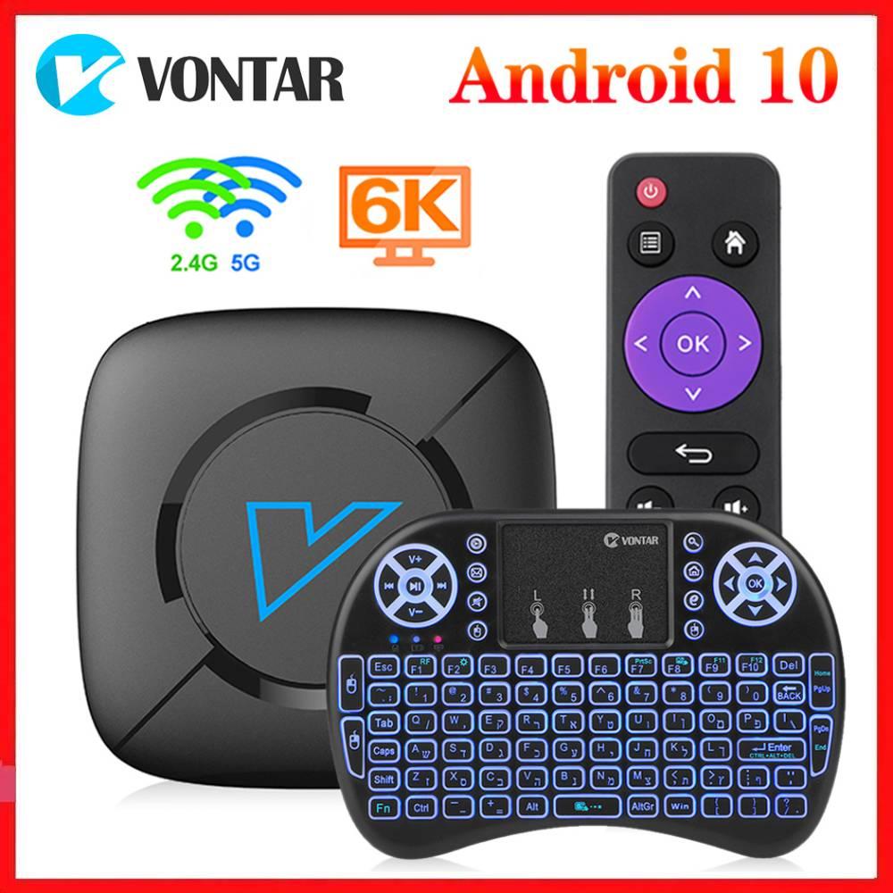 Vontar v6 smart tv box android 10.0 4gb ram 64gb rom android 10 4k media player 2.4 & 5g duplo wifi bt5.0 youtube conjunto caixa superior 1g8g