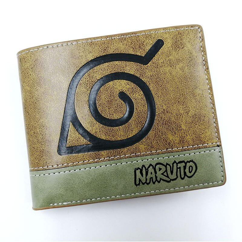 Anime Comics Naruto Shippuden Konoha cartera con bolsillo para monedas tarjetero de cuero caqui monedero hombres mujeres regalo dinero bolsa