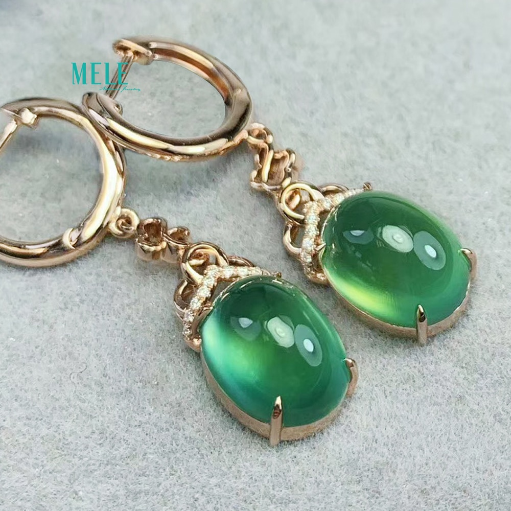 Natural Prehnite Earring size 33.3x8mm Gemstone 9.6ct 18k Rose golden heft Metal ample Reverse drilling make