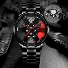 Mannen Horloge Nibosi Velg Hub TE37 Horloge Custom Design Sport Auto Velg Horloges Waterdicht Hollow Dial Horloge Mannen Relogio masculino