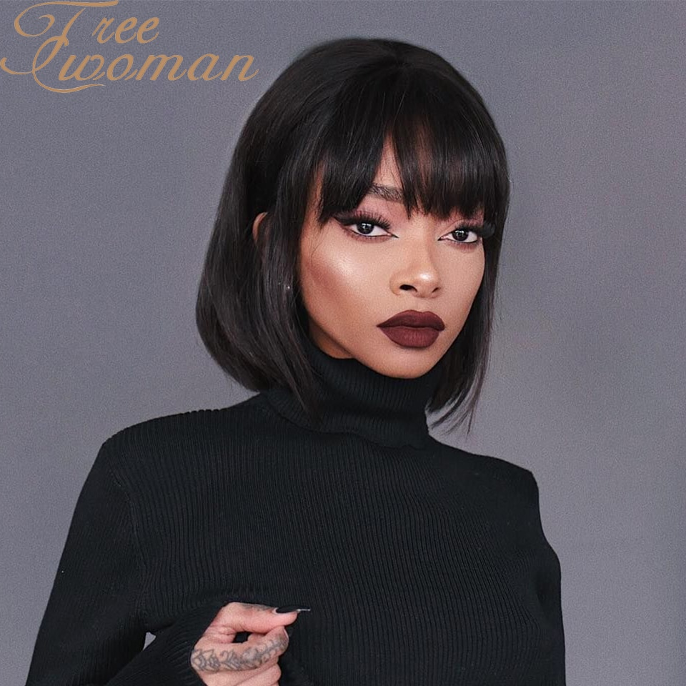 FREEWOMAN Black Short Bob Hair Wigs Straight with Bangs Synthetic Colorful Cosplay Daily Party Wig for Women Natural As Real