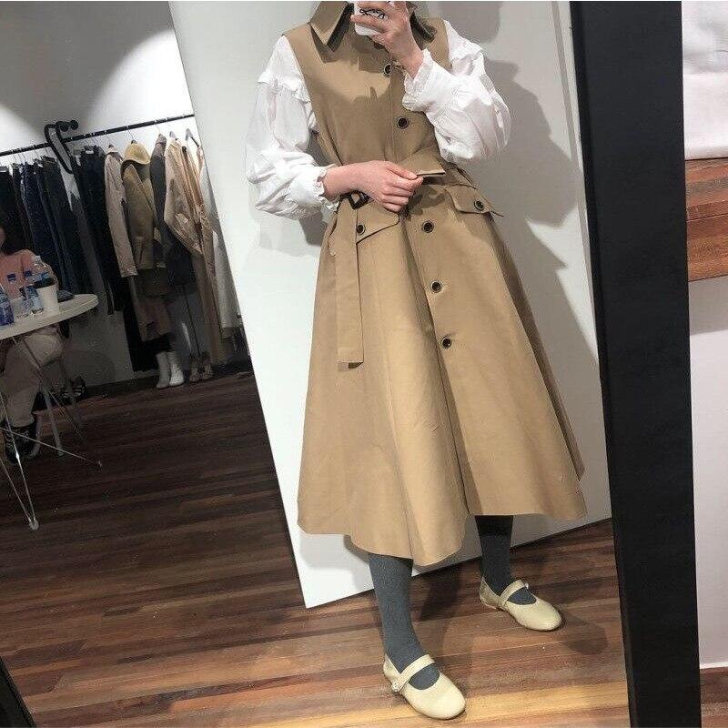 [EWQ] 2020 Spring Autumn New Lapel Sleeveless Solid Patchwork Single Breasted Adjustable Waist Vintage Dress Women 3AJ133
