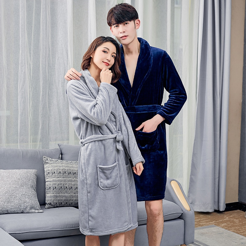 2021 mens fashion new couple flannel pajamas autumn and winter loose long-sleeved coral velvet bathrobe set